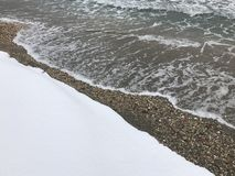 Snö vid havet Royaltyfri Bild