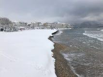 Snö vid havet Royaltyfri Foto