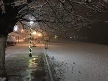 Snö vid havet på natten Arkivbilder
