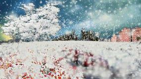 Snöa över trädgård och rosor och bilen i den jeddah staden stock illustrationer