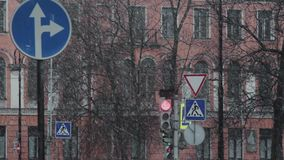 Snöa att falla och ändringar till trafikljus på tvärgatan stock video