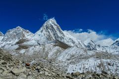 Snöa bergdalen på den Everest basläger som trekking EBC i Nepal arkivbilder