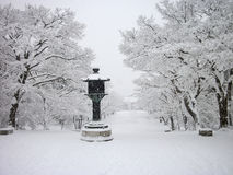 Snöa den dolda templet, vinter i Kyoto Japan Royaltyfri Bild