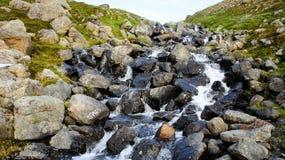 Snöa flödande vatten för melten - ner ett berg royaltyfri bild