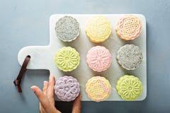 Snöa hudsötsaken och välsmakande mooncakes för traditionell kines royaltyfria foton