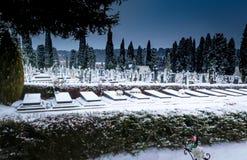 Snöa i kyrkogårdSten Jose Burgos royaltyfri bild