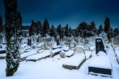 Snöa i kyrkogårdSten Jose Burgos royaltyfria bilder