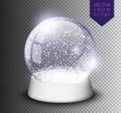 Snöa jordklotet isolerade mallen som är tom på genomskinlig bakgrund Magisk boll för jul Realistisk illustration för Xmas-snowglo