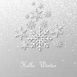 Snöa och snöflingor med skugga och text: Hello övervintrar, på ljus bakgrund också vektor för coreldrawillustration Royaltyfri Fotografi