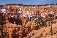 Snöa på sandiga lutningar av Bryce Canyon, Utah, USA Royaltyfri Foto
