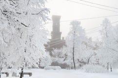 Snöa vintern i staden på gatorna Arkivbild