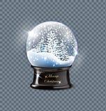 Snöar realistisk tom jul för vektorillustration härliga julgranar för jordklotet med snö som isoleras på ett genomskinligt stock illustrationer