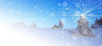 Snöat landskap för jul bakgrund arkivbild