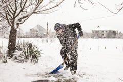 Snöborttagning Fotografering för Bildbyråer