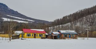 Snöby i det Mohe länet, Kina arkivfoto