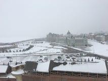 Snöcityscape royaltyfria bilder