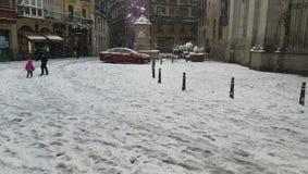 Snödag i bilbao arkivfoton