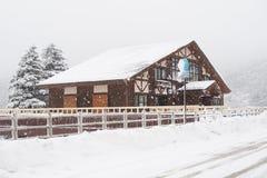 Snödag i vintersäsong arkivfoto