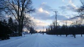 Snödrev i Michigan Arkivfoto