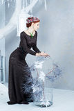 Snödrottning, december Elegant kvinna i lång klänning Vinter Arkivbilder