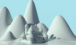 Snödrottningslott framförande 3d royaltyfri illustrationer