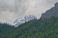 Snöfall i Candian de steniga bergen royaltyfri bild