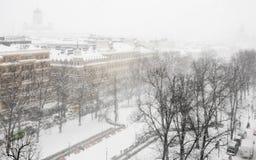Snöfall i Helsingfors royaltyfri foto