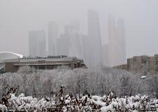 Snöfall i Moskva royaltyfria foton