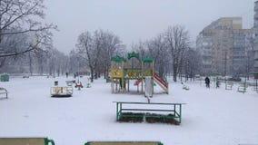 Snöfall i staden lager videofilmer