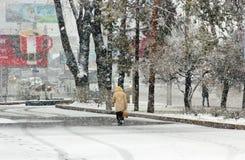 Snöfall i staden Arkivfoton