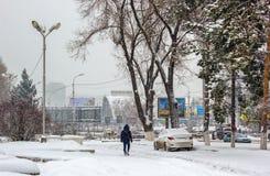 Snöfall i staden Arkivfoto