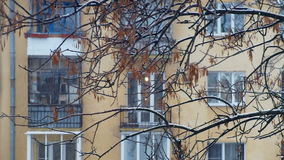 Snöfall i staden på bakgrunden av flervånings- byggnad arkivfilmer