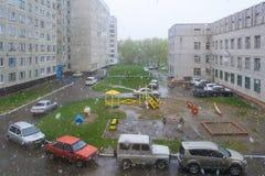 Snöfall i stadsdomstolen Ryssland Arkivbild