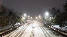 Snöfall i Tokyo på 2AM på Februari 2, 2018 arkivfilmer