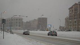 Snöfall nära bergsemesterorten av Esto-Sadok i större Sochi Royaltyfri Fotografi