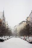 Snöfall på gatan av Berlin Royaltyfri Foto