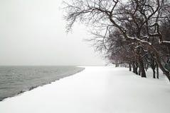 Snöfall på havsstrandkusten Arkivfoton