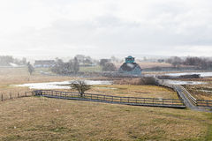 Snöfall på våren Arkivfoton