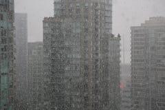 SnöfallVancouver cityscape Arkivfoto