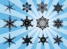 Snöflinga stock illustrationer