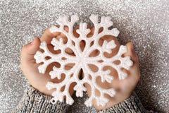 Snöflinga i händer Arkivfoto