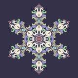 Snöflinga - Mandala i pressande rosa färg på förmörkelsebakgrund vektor illustrationer