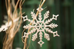 Snöflinga på beigea filialer Royaltyfria Foton
