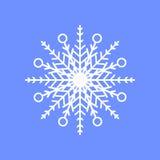 Snöflinga på blå bakgrund för vinterinbjudankortet, mall för vektorlogosymbol Arkivfoto