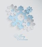 Snöflingabakgrund för jul 3D Vektor Illustrationer