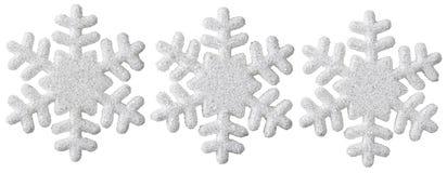 Snöflingajulgarnering, vit isolerad Xmas-snöflinga fotografering för bildbyråer
