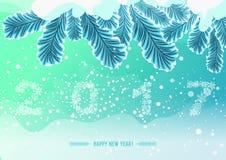 Snöflingan figurerar 2017 på snö fryst trädfilial Ferieillustration för lyckligt nytt år stock illustrationer