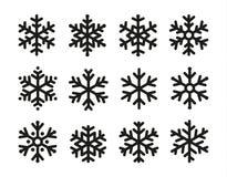 Snöflingasymbolsuppsättning, linjär svart design, frysningsymbolsamling, vektorlogo Beståndsdelar av att dekorera nya år och Royaltyfri Fotografi