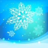 Snöflingavektor på blå bakgrund royaltyfri illustrationer