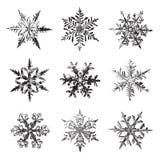 Snöflingavektoruppsättning, konturer för illustrationgemkonst arkivbilder